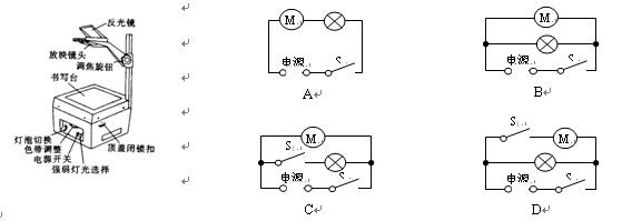 设计投影仪电路的要求是:带动风扇的电动机先启动后灯泡才可以发光