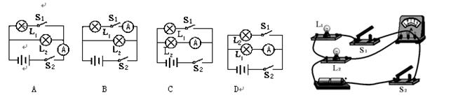 答案 【答案】c 解析 【解析】两灯并联,s2是干路开关,s1控制l1,电流