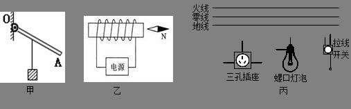 (3)如图丙所示,用笔画线代替导线将电灯,开关,三孔插座接到家庭电路