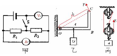 """试在两个""""○""""内选填""""电压表""""和""""电流表""""的符号,使两电阻组成并联电路."""