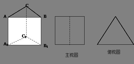 主视图是边长为1的正方形,俯视图为一个等边三角形,则该三棱柱的左