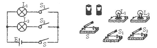 【题文】根据下面的电路图,把实物图连成电路.(用笔画线代替导线)