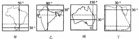 下图为四个国家的轮廓简图,每个图中标示了一些典型经
