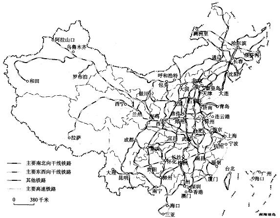 【题文】读中国主要铁路分布图,哈尔滨—北京的铁路线