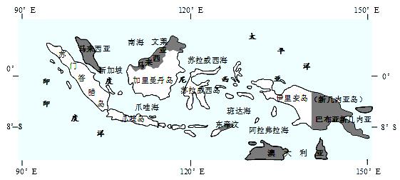 材料一:印度尼西亚地理位置示意图 材料二:爪哇岛地处板块边界上