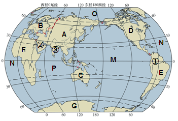 【题文】读世界海陆分布图,回答下列问题.(20分)