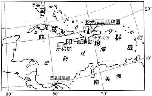 材料一西印度群岛位置分布图.