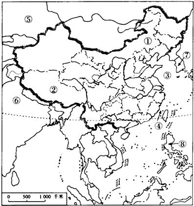 如图是中国空白政区图,读图回答下?#24418;?#39064;.
