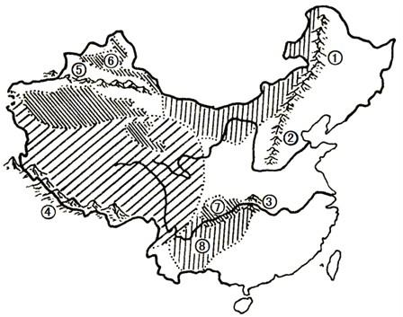 如图为我国地形类型示意图,填写图中地形区的名称.