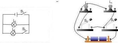 初中物理试题 电路 给你两盏电灯l1,l2,两个开.