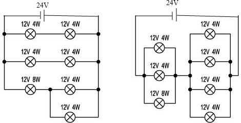 """初中物理试题 电路 现有一只""""12v8w""""和六."""