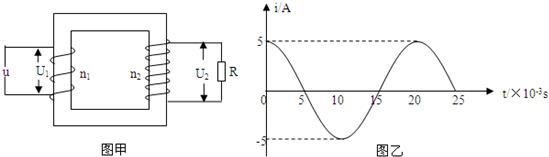 高中物理试题 变压器原理 如图甲所示,电路中理想变压器原.