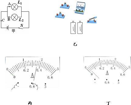 在研究串并联电路电流的规律时,李同学设计了图甲所示