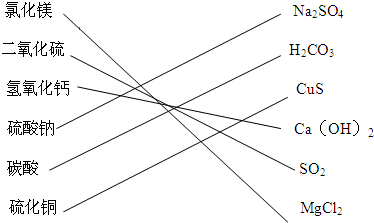将下列物质与对应的化学式之间用线段连起来