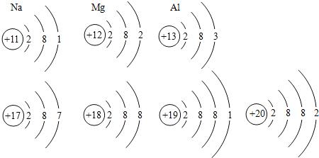 如图为钠,镁,铝三种常见金属的原子结构示意图,小明在