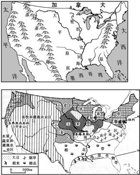 (1)描述美国本土的海陆位置. (2)落基山是世