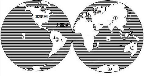 """读图""""七大洲和四大洋的分布"""",完成下列要求"""