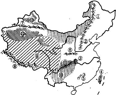 读中国地形图,完成下列各题