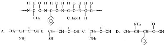 当含有下列结构片断的蛋白质在胃液中水解时,不可能产生的氨基酸是