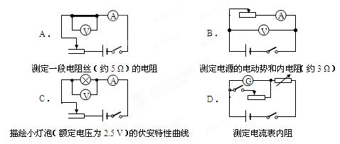某同学欲采用如图所示的电路完成相关实验.图中电流表