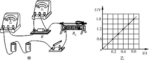 """在做""""伏安法测量定值电阻""""的实验中,小明同学设计了如图甲所示的电路"""