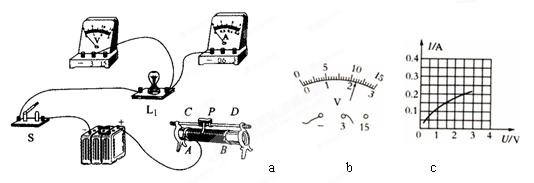 (10分)测定小灯泡电功率的实验中,选用的电源电压为4.