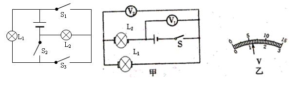 如图所示,两个灯泡组成串联电路,电源电压为6v,闭合开关s后,两 灯均不