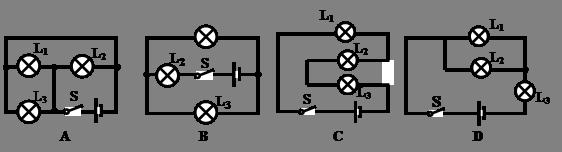 如图所示的四个电路图中,开关闭合时,三盏灯属于并联关系的是()