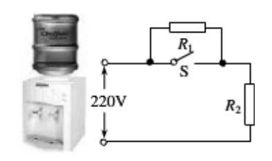如图是一台常用的电热饮水机,下表是它的铭牌数据,如图是它的电路原理图 其中S是温控开关,R1是定值电阻,R2是加热电阻 当S闭合时,饮水机处于加热状态 当S断开 – 新东方在线网络课堂