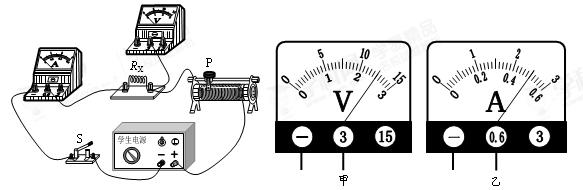 """小岩利用""""伏安法""""测量未知电阻rx的阻值."""