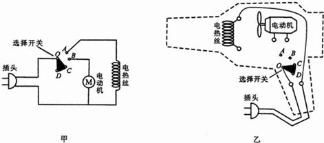 初中物理试题 电路 如甲图是电吹风的电路图,乙图是.