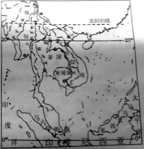 读《中南半岛河流与城市的分布图》,回答(9分)