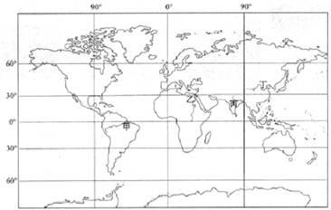 """读""""世界海陆分布图"""",完成下列各题."""
