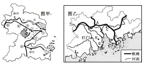 (14分)图甲和图乙分别是我国长江三角洲和珠江三角洲经济区示意图.