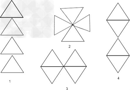 用三个等边三角形可以拼成不同的轴对称图案,请你先欣赏下面的图案吧.图片