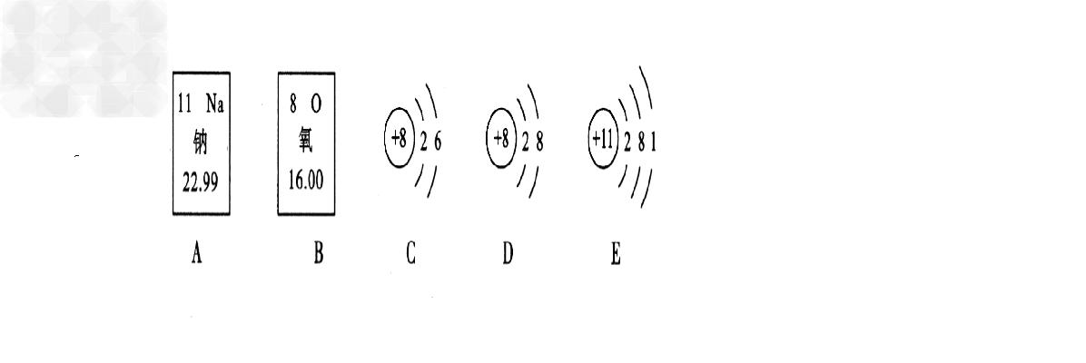 钠元素的原子序数为11 b. 氧离子的结构示意图是d c.