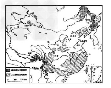 读图(7-8)中国森林资源的分布图和(7-9)中国防护林图图片