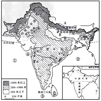 读中国地形图,完成下列问题:下列词语