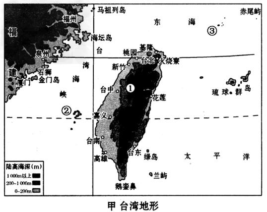 组成:在甲图中适当位置填出台湾岛,澎湖列岛,钓鱼岛.3.
