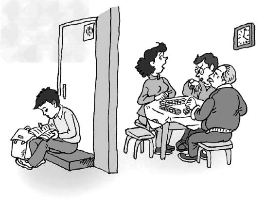 阅读漫画 孩子怎么没回来 并回答问题 1 家长整天打麻将,不管孩子的图片