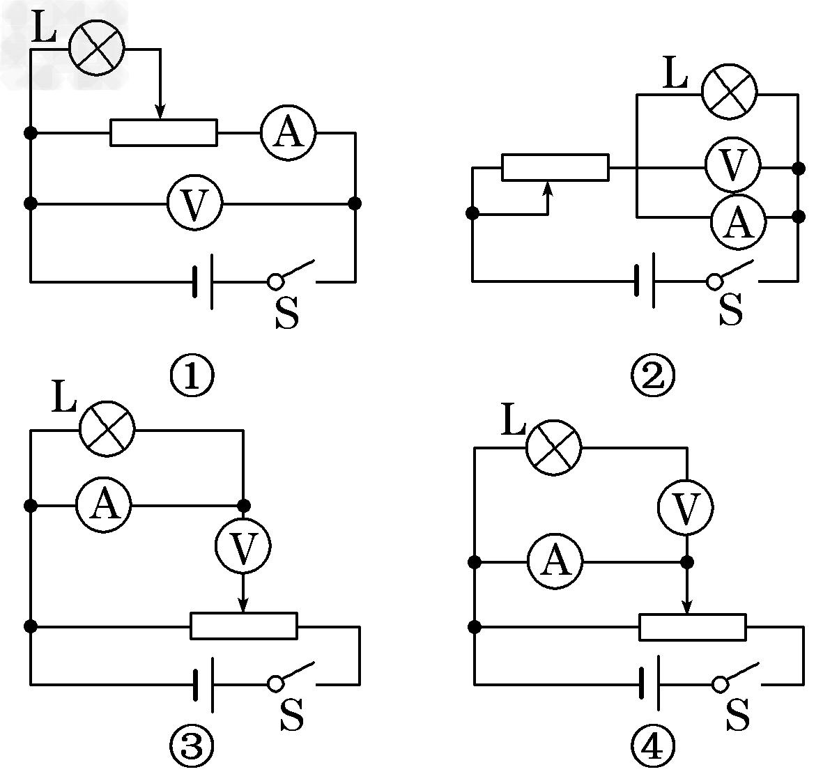 在测量电珠伏安特性实验中,同学们连接的电路中有四个错误电路,如图所