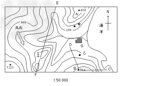 高中地理试题 地图 读所给等高线地形图,回答问题:.